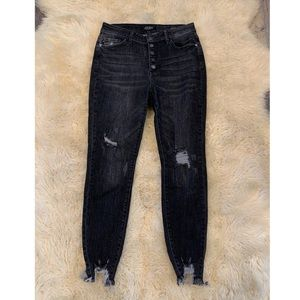 Judy Blue Button Fly Skinny Fit Distressed Jeans